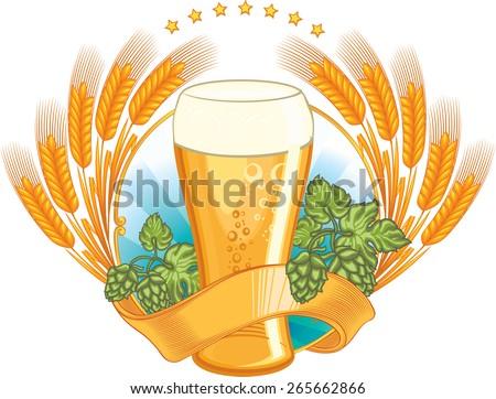 Vector beer emblem - stock vector