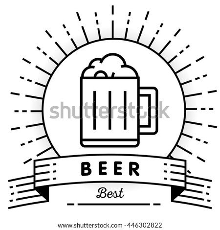 Vector Beer Icon with Linear Style,