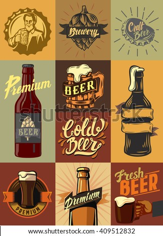 vector beer shop and beer set poster