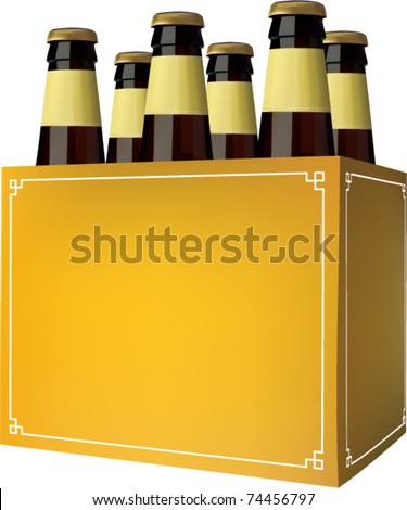 vector beer six pack - stock vector