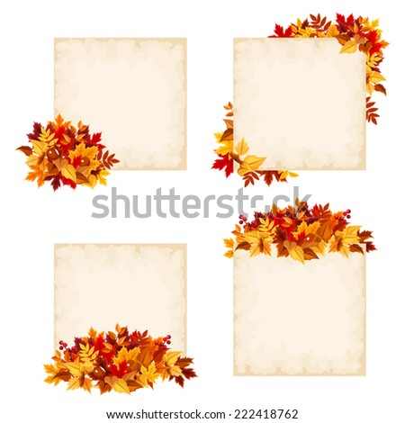 Vector beige cards with colorful autumn leaves. - stock vector
