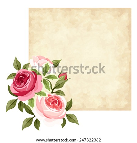 Vector beige parchment card with red and pink roses. - stock vector