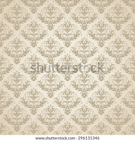 Vector beige wedding background Seamless abstract pattern. Ornamental damask background with elegant pattern - stock vector