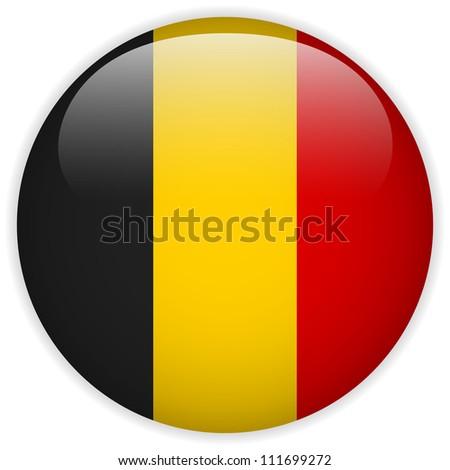 Vector - Belgium Flag Glossy Button - stock vector