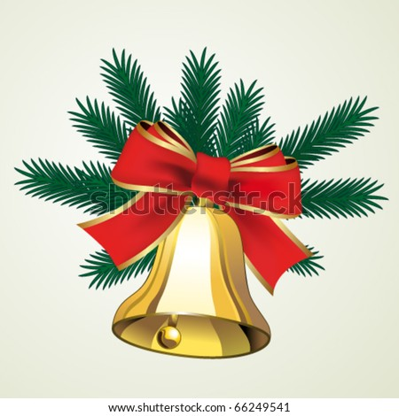 Vector bell with bow and with twigs of tree - stock vector
