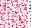 Vector bells and butterflies seamless pattern background with hand drawn elements. - stock vector