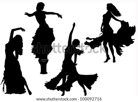 vector belly dancing black woman silhouette on white - stock vector