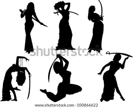 vector belly dancing black woman with swords silhouette on white - stock vector