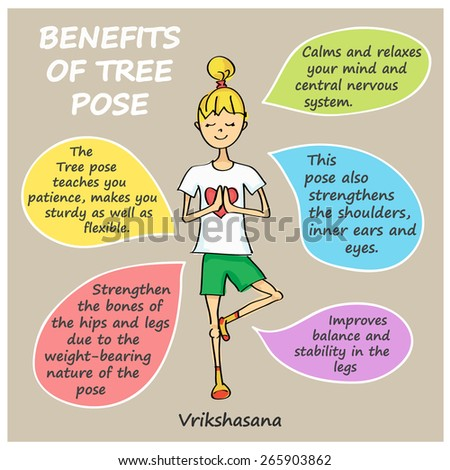 Vector benefits of tree pose. VRIKSHASANA. Cute little cartoon girl in yoga tree pose - stock vector