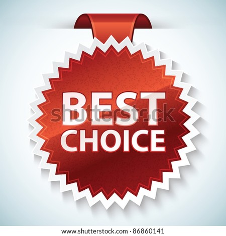 Vector best choice red label - stock vector