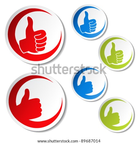 Vector best choice stickers - gesture hand - stock vector