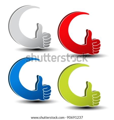 Vector best choice symbols - gesture hand - stock vector