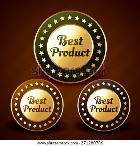 vector best product golden label design illustration - stock vector