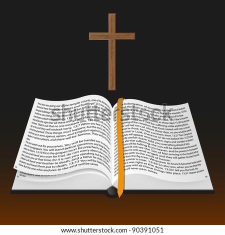 vector bible with cross - stock vector