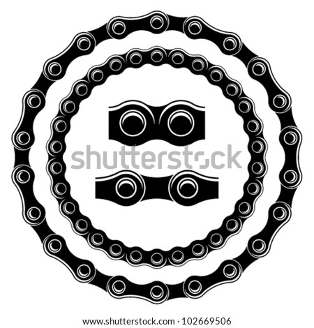 vector bicycle chain seamless silhouettes - stock vector