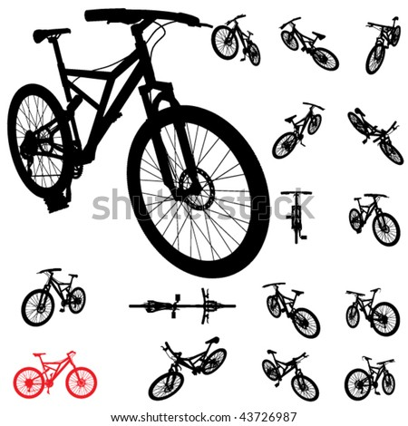 vector bicycle silhouette set - stock vector