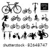 vector bicycle silhouette set ,EPS 10 vector - stock vector