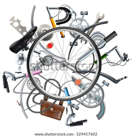 Vector Bicycle Spares Concept with Wheel - stock vector