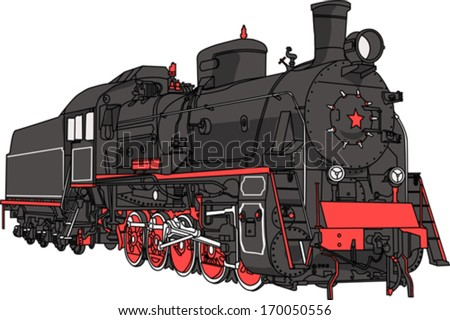 vector Big black locomotive with a pipe isolated on white background - stock vector