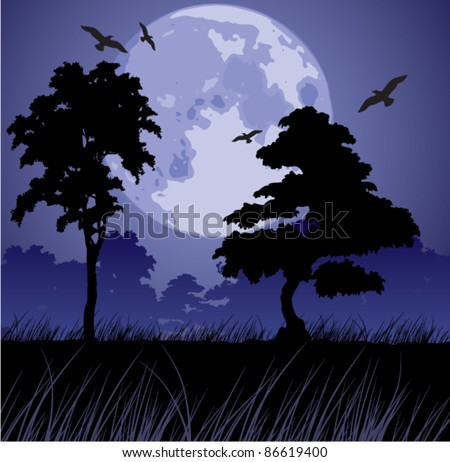 vector big blue moon and silhouettes of trees - stock vector