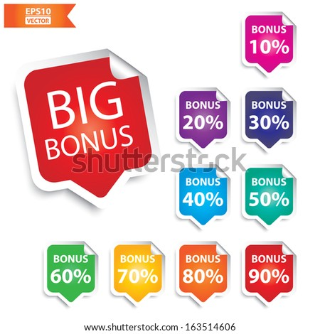 Vector: Big Bonus tags 10 - 90 percent with colorful set. Eps10. - stock vector