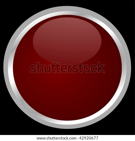 Vector Big Glossy Red Button With Silver Border Isolated On Black Background - stock vector