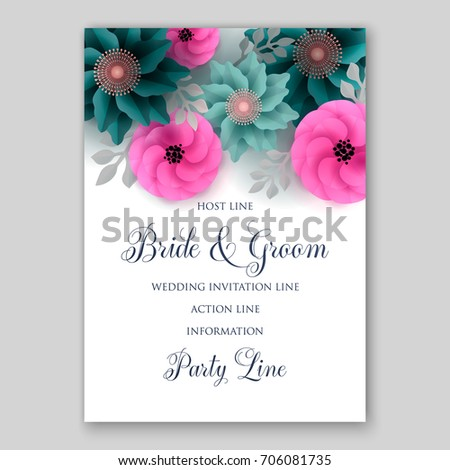 Vector big paper flower origami rose stock vector 706081735 vector big paper flower origami rose anemone peony wedding invitation floral card template mightylinksfo