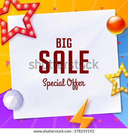 Vector big sale banner with elements on paper, on colorful background - stock vector