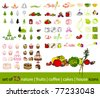 vector big set of cute fruits, vegetables, cakes, coffee and tree icons - stock vector