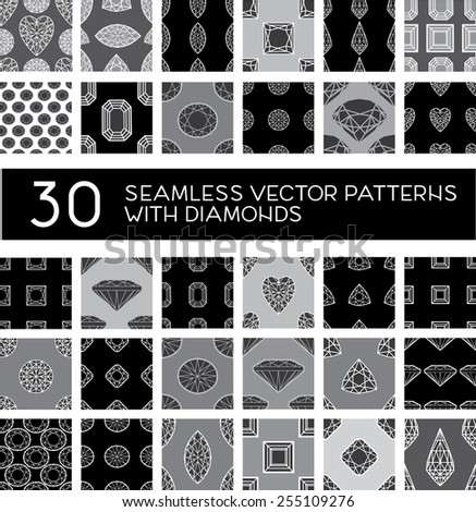 Vector big set of thirty seamless pattern from diamond - design elements - stock vector