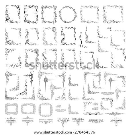 Vector big set. Ornate frames and scroll elements. Decorative elements. - stock vector