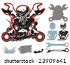 Vector bikers simbols constructor set. More vector motobikers simbols see in my portfolio. - stock vector