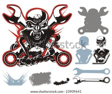 Vector bikers simbols constructor set. More vector motobikers simbols see in my portfolio. - stock vector