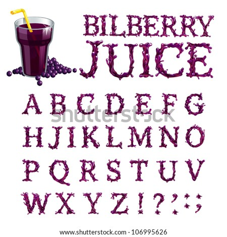 Vector bilberry juice serif font, abc a-z - stock vector