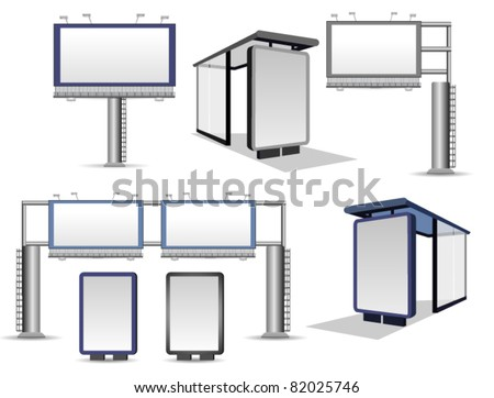 Vector Billboards Collection Isolated on White - stock vector