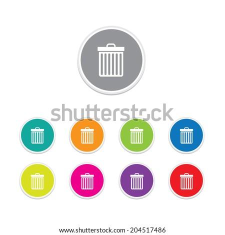 Vector - bin icon. Round stickers.  - stock vector