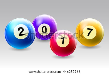 Vector Bingo / Lottery Number Balls Set with with the year - stock vector