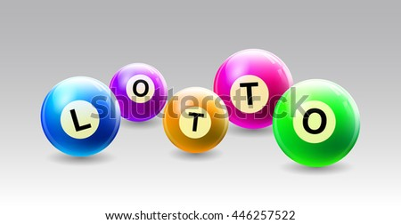 Vector Bingo / Lottery Number Balls with text LOTTO - stock vector