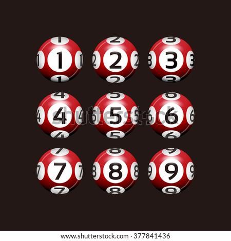 Vector Bingo / Lottery Number Red Balls Set on Black - stock vector
