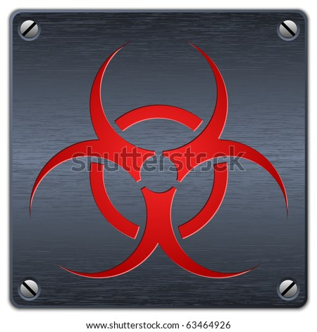 Vector biohazard sign on dark metal plate - stock vector