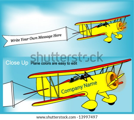 Vector Biplane & Banner (Easy to Customize Colors & Text) - stock vector