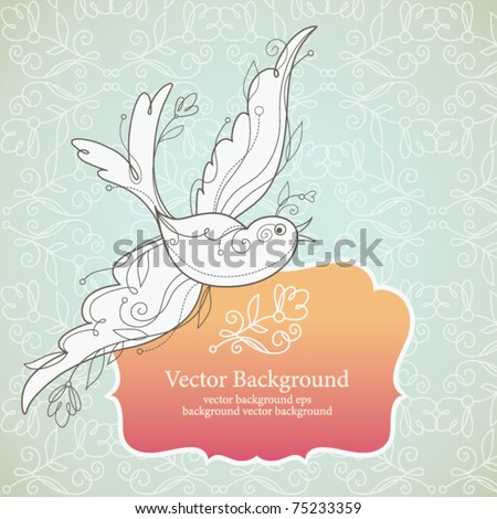 Vector bird and frame for your text - stock vector