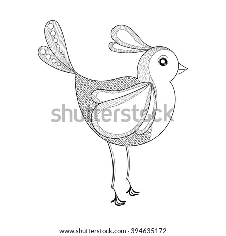 Vector Bird Coloring Page With Zentangled Hand Drawn Patterned Exotic Artistically