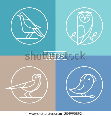 Vector bird icons in outline style - sparrow, owl and pigeon - abstract icons and emblems - logo design templates - stock vector