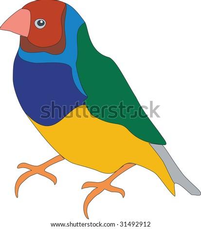 """Vector. Bird parrot in color """"01"""" - stock vector"""