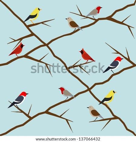 vector bird pattern on blue backgroud  with various birds - stock vector
