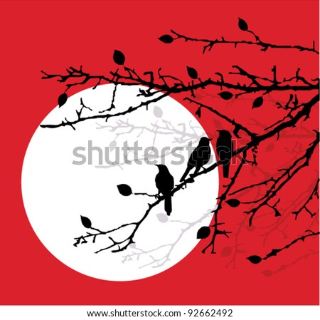 vector bird silhouettes sitting on the branches in the moonlight