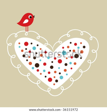 vector bird with heart - stock vector