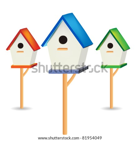 Vector Birdhouses isolated on white - stock vector