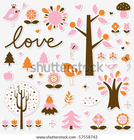 vector birds and trees set sticker - stock vector